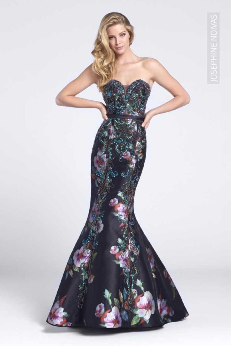 Vestido de Festa – Tomara que caia sereia preto com fundo florido e brilho