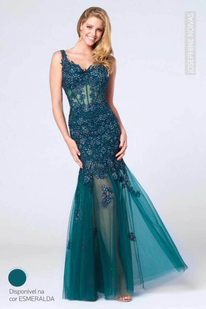 Vestido de Festa – Sereia com alças na cor esmeralda