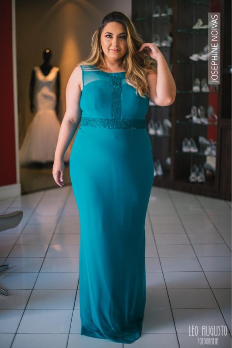 Vestido de Festa Plus Size – Azul Verde