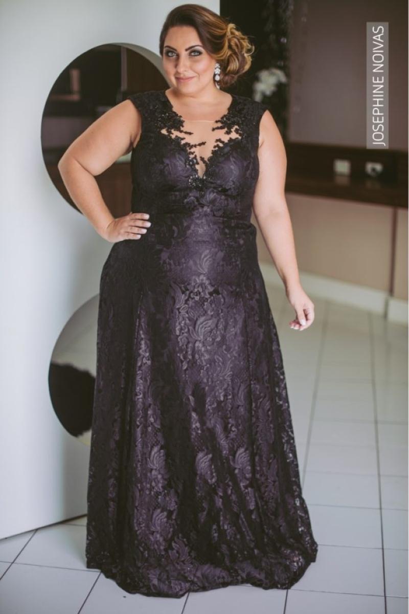 Vestido de Festa Plus Size – Preto com transparência