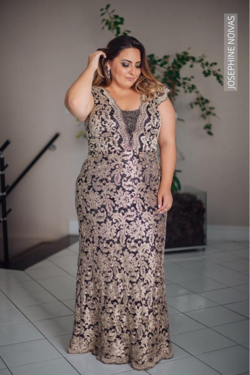 Vestido de Festa Plus Size – Preto com dourado