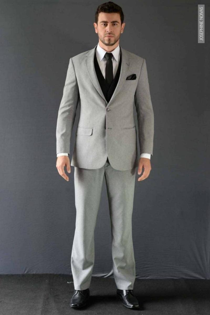 Termo de Noivo – Cinza Claro com Colete e Gravata Slim Preta
