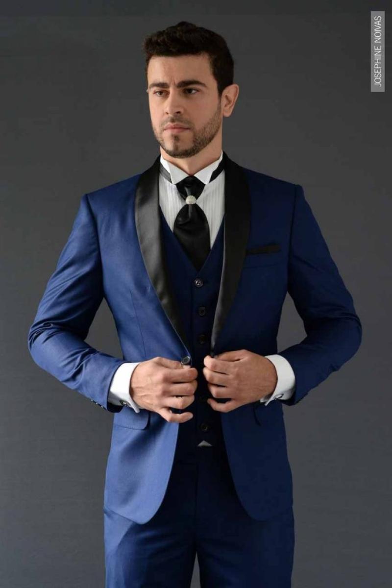 Traje de Noivo – Azul Marinho e Preto com colete
