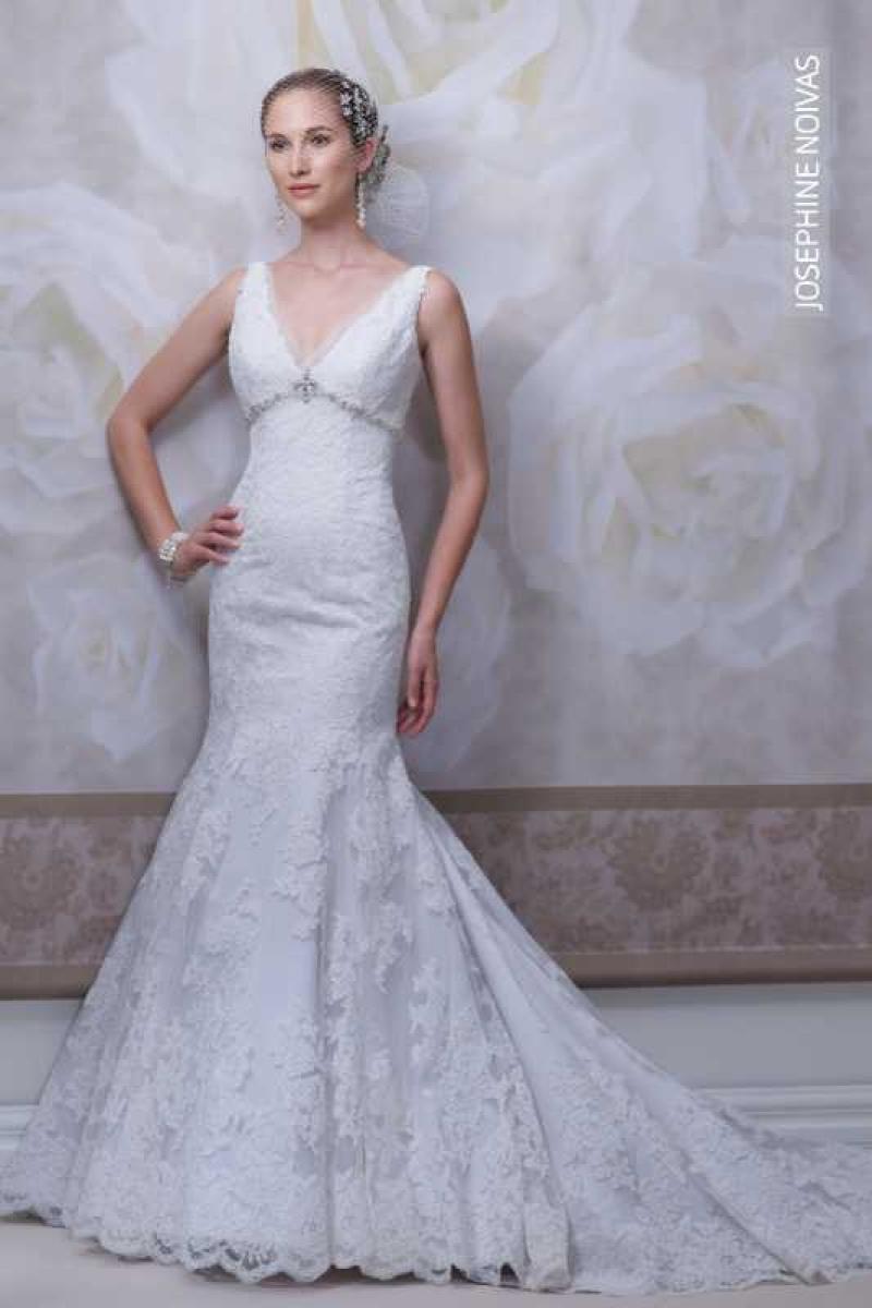 Vestido de Noiva Semi Seria com Decote V