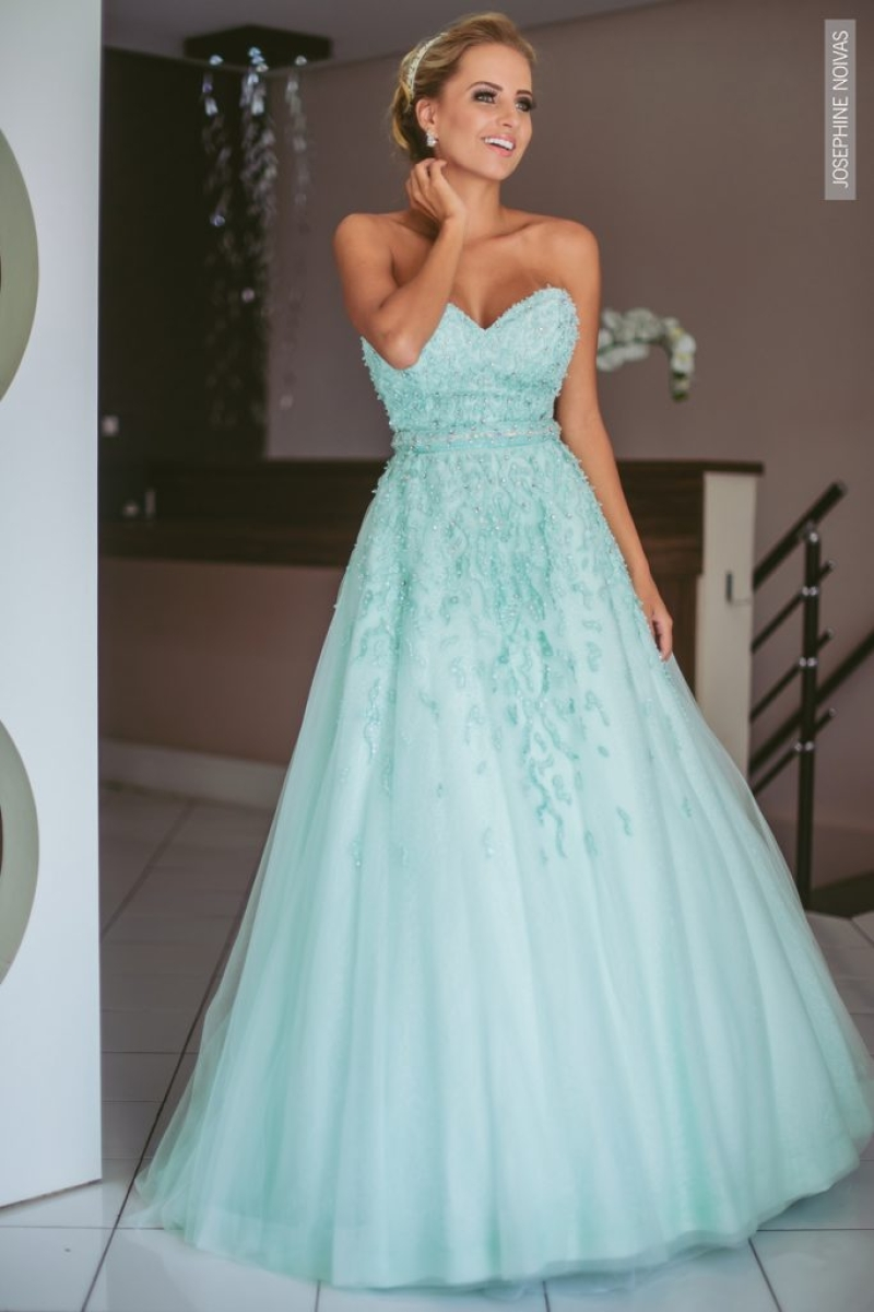 Vestido de Debutante –  Azul Claro tomara que caia