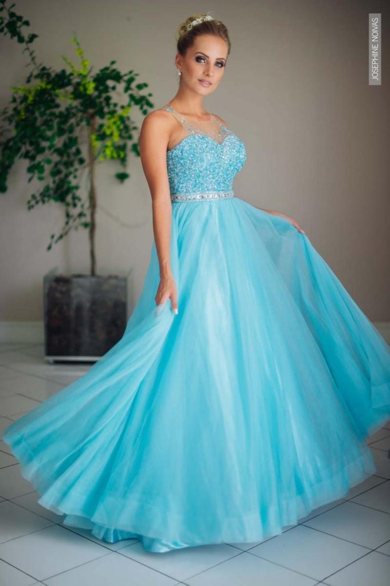 Vestido de Debutante –  Azul com prata