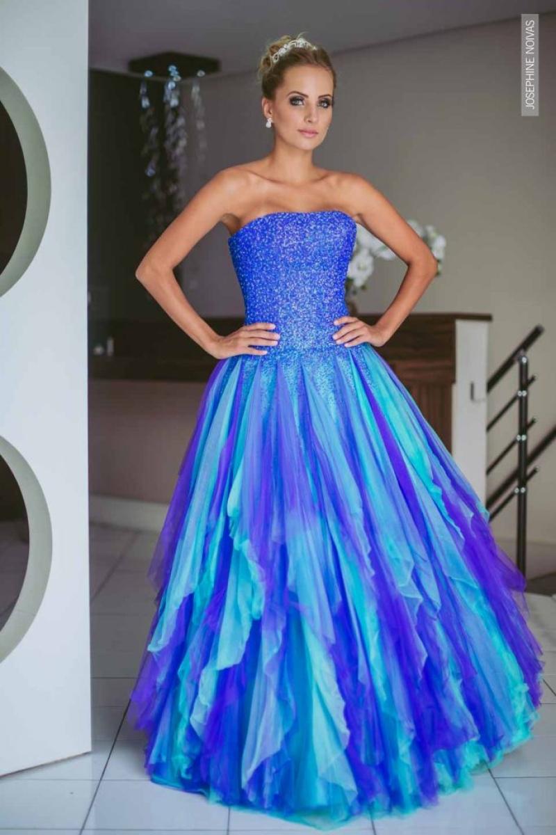 Vestido de Debutante –  Azul com roxo