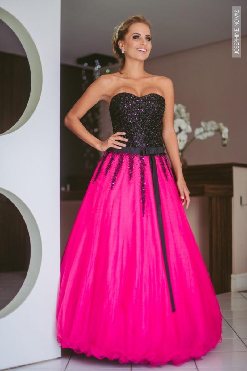 Vestido de Debutante –  Pink com preto