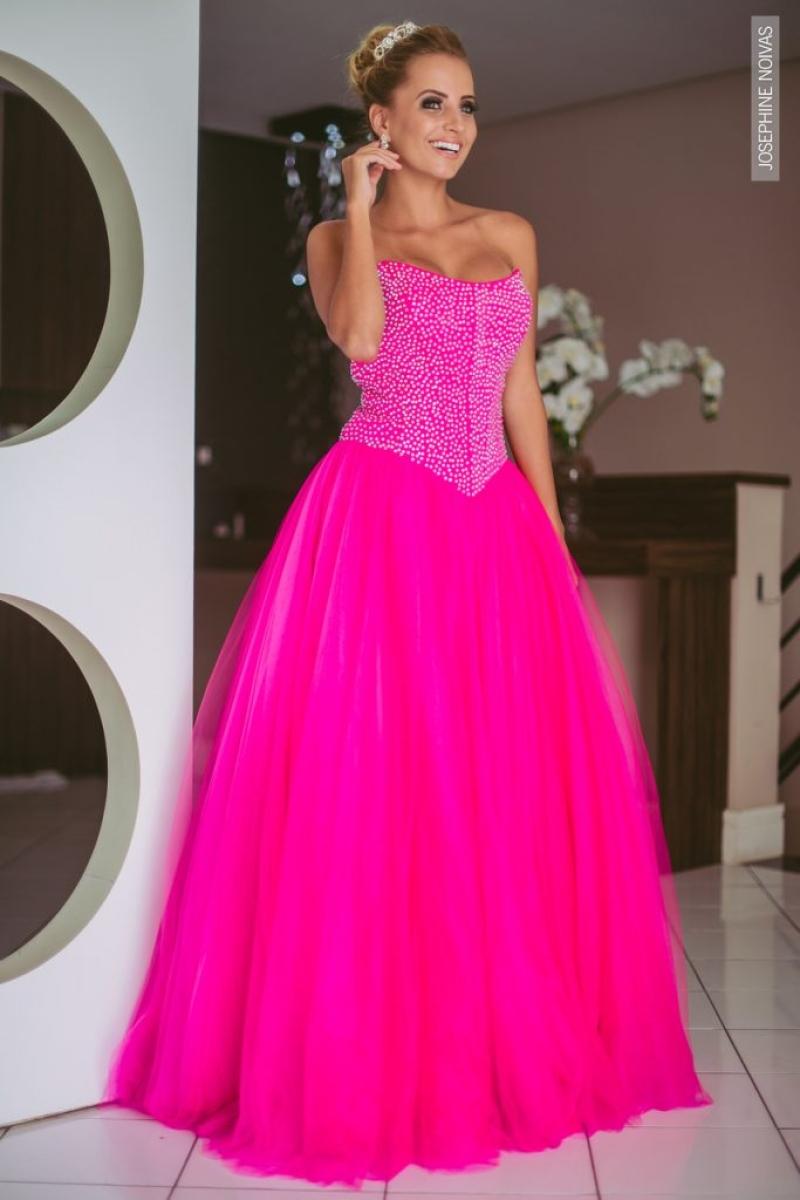 Vestido de Debutante –  Rosa com Prata