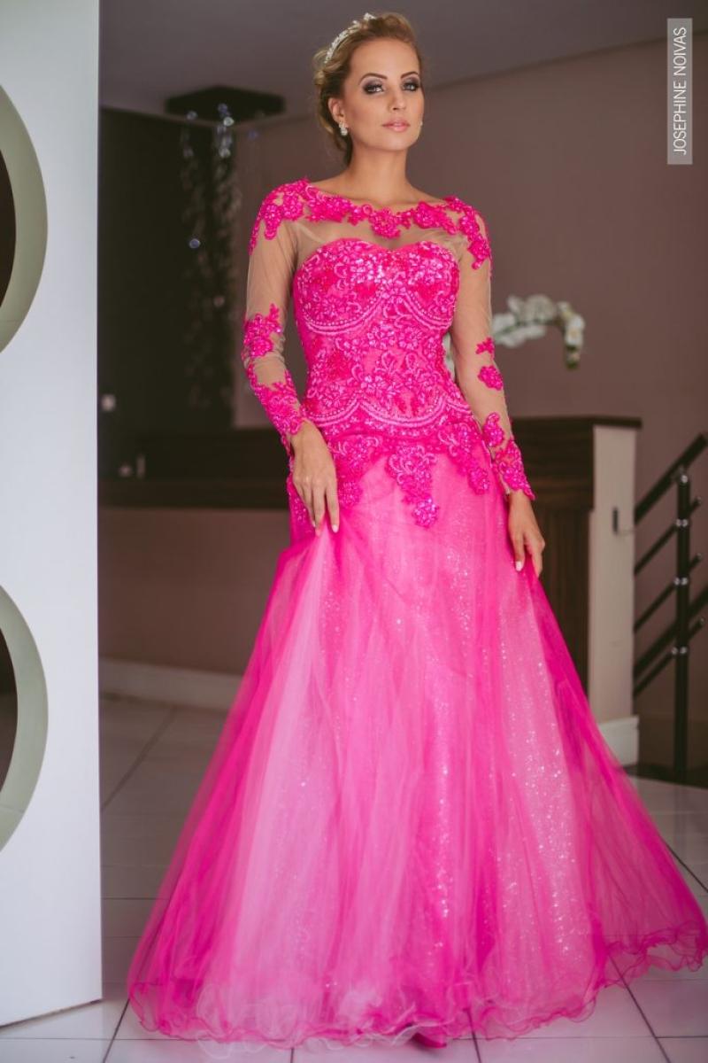 Vestido de Debutante –  Rosa com saia curta