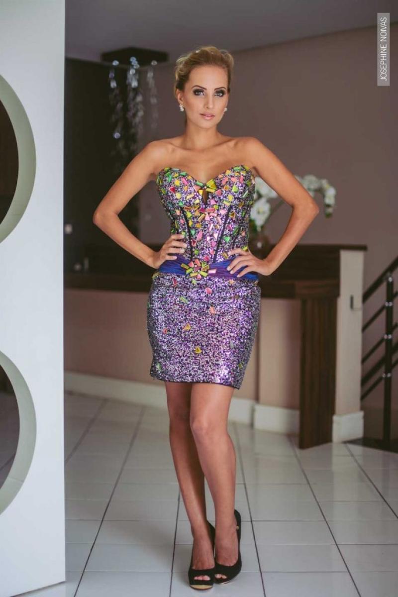 Vestido de Debutante –  Roxa com pedras