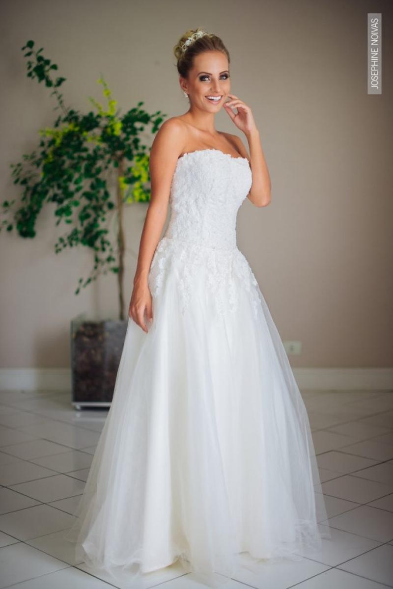 Vestido de Debutante –  saia curta e longa na cor branco