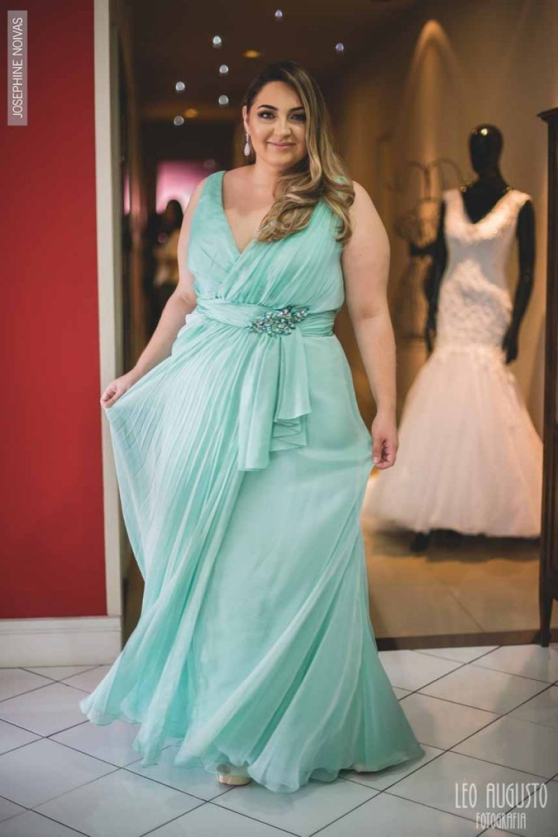 Vestido de Festa Plus Size – Verde Tiffany