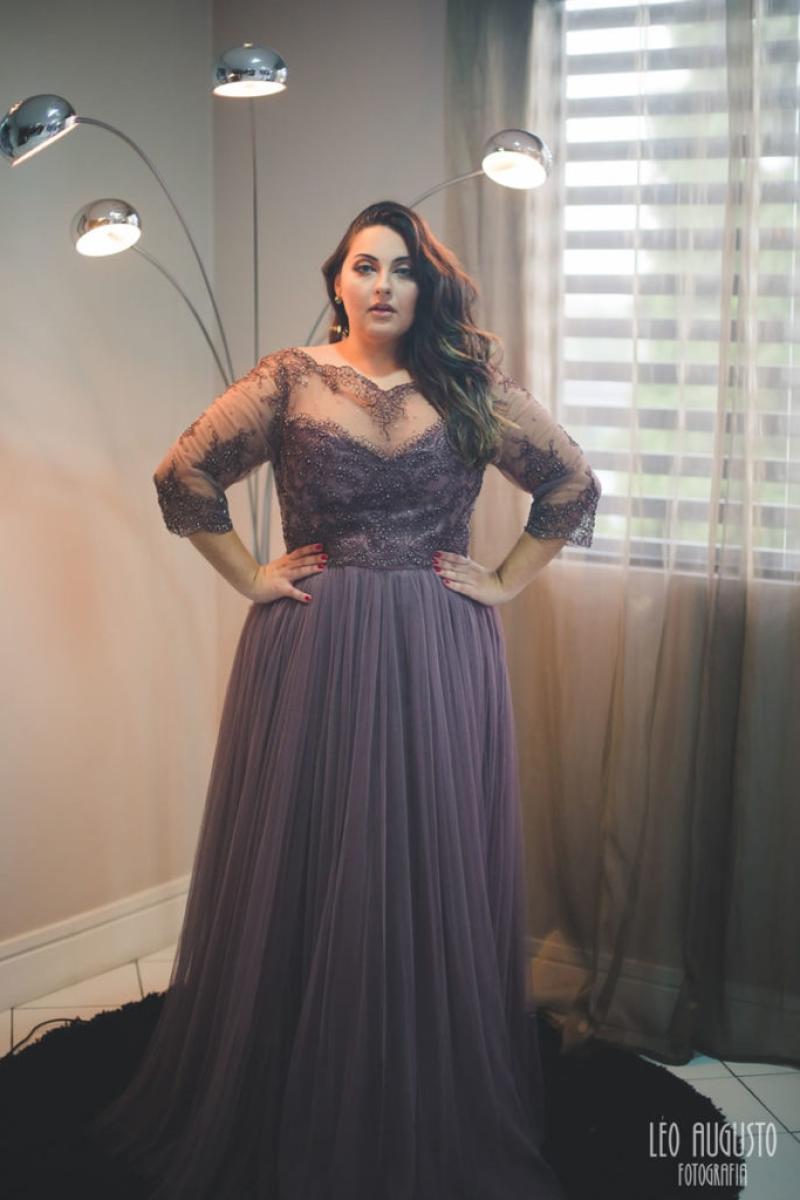 Vestido de Festa Plus Size – Marrom