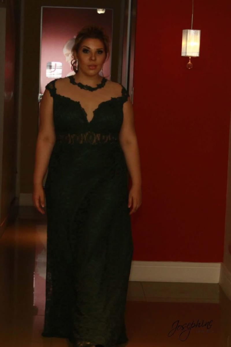 Vestido de Festa Plus Size – Verde Escuro