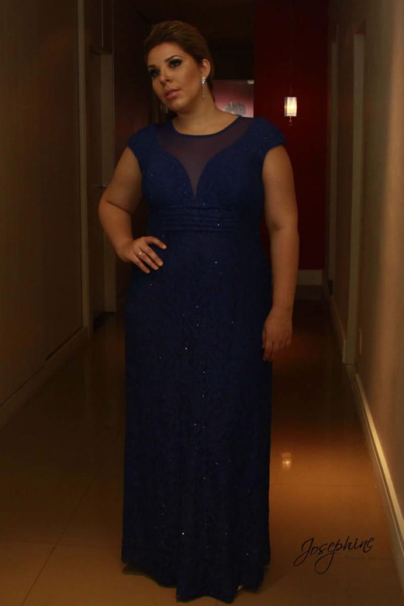 Vestido de Festa Plus Size – Azul Escuro