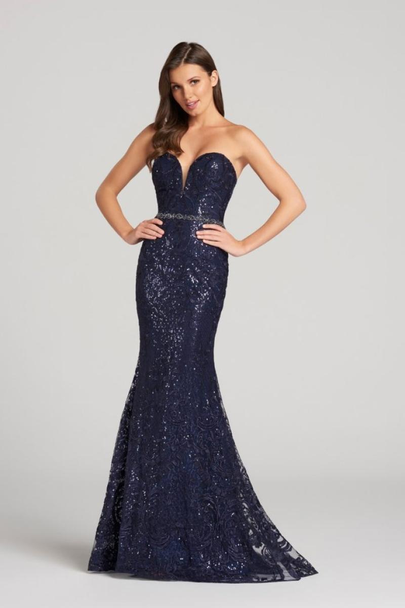 Vestido de Festa – Sereia tomara que caia azul marinho com brilho