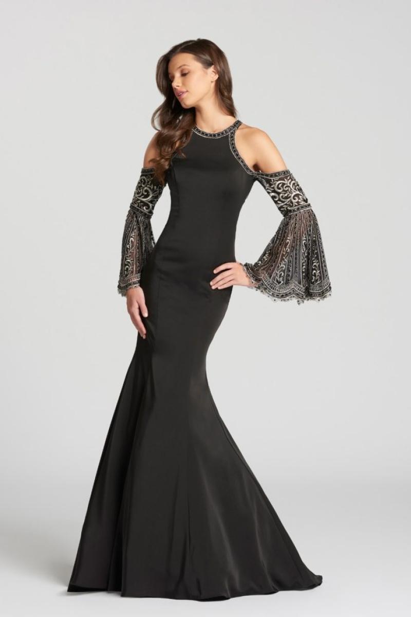 Vestido de Festa – Sereia com mangas de bordadas