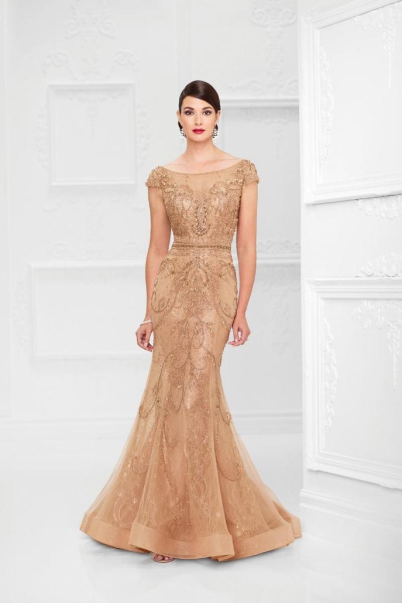 Vestido de Festa – Sereia com mangas dourado e todo bordado em pedraria