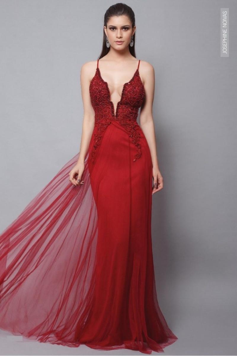 Vestido Sereia Vermelho com Bordados e calda