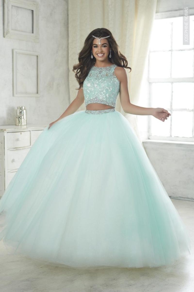Vestido de Debutante –  Saia e Cropped Verde Água