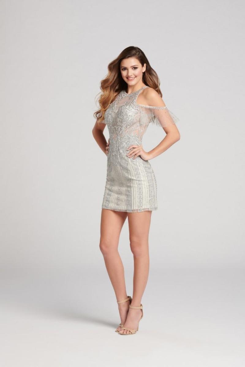 Vestido de Debutante curto na cinza