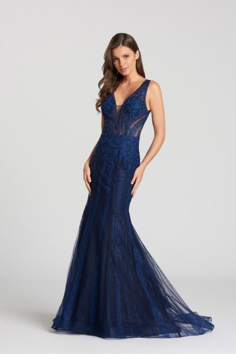 Vestido de Festa – Modelo semi sereia azul marinho