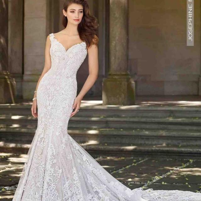 Vestido de Noiva – Semi Sereia Mangas Longas