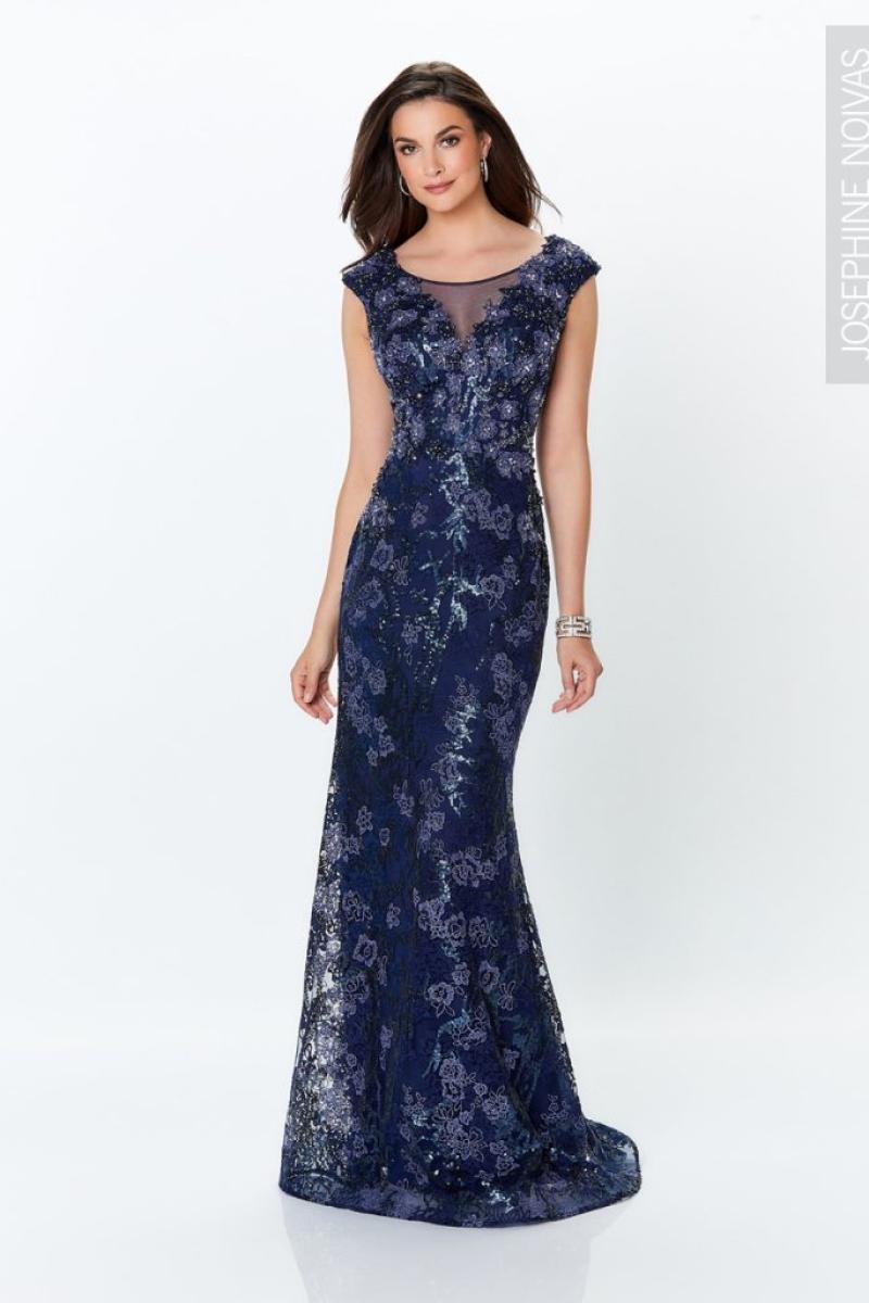 Vestido de festa azul marinho com rendas e brilho para madrinhas formandas e festas
