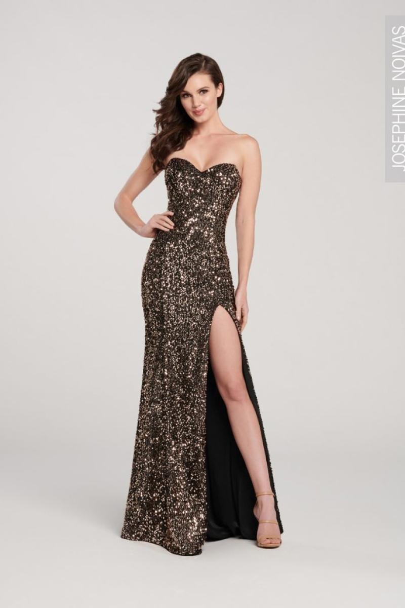 Vestido de festa sereia com fenda preto com dourado com brilho para formandas e festas