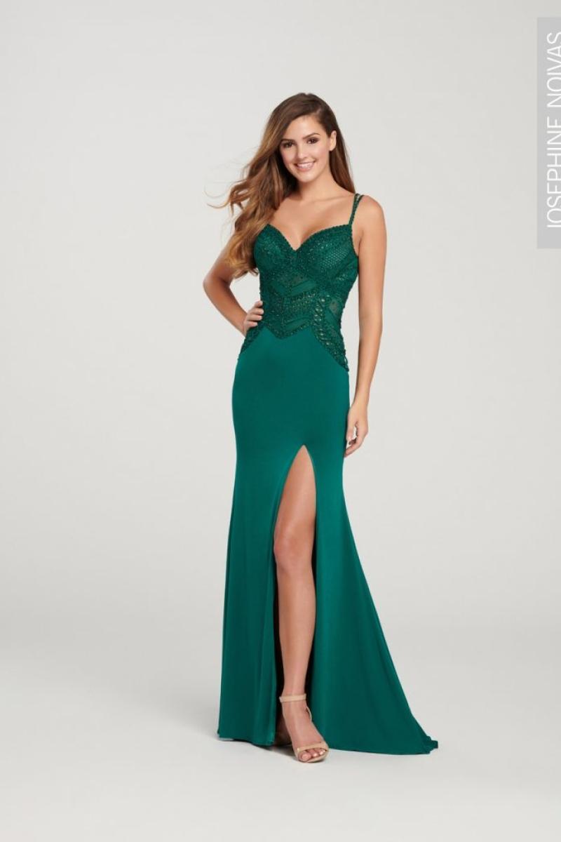 Vestido de festa verde esmeralda sereia com fenda e brilho para madrinhas formandas e festas