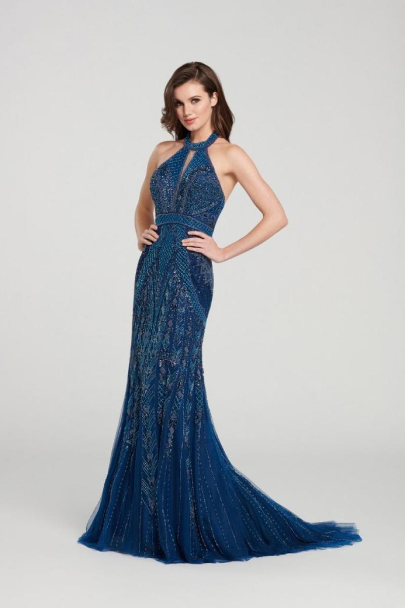 Vestido longo todo em brilho azul marinho