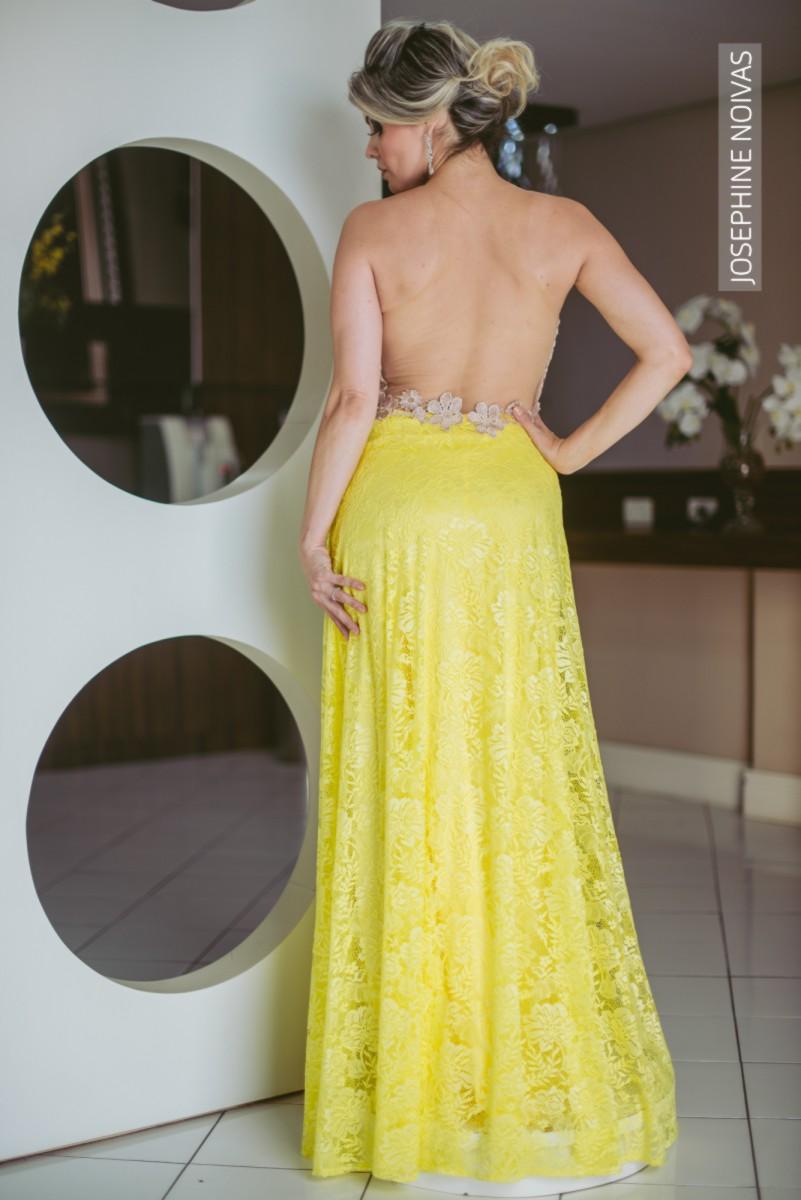 Vestido de Festa Plus Size - Preto com dourado - Josephine