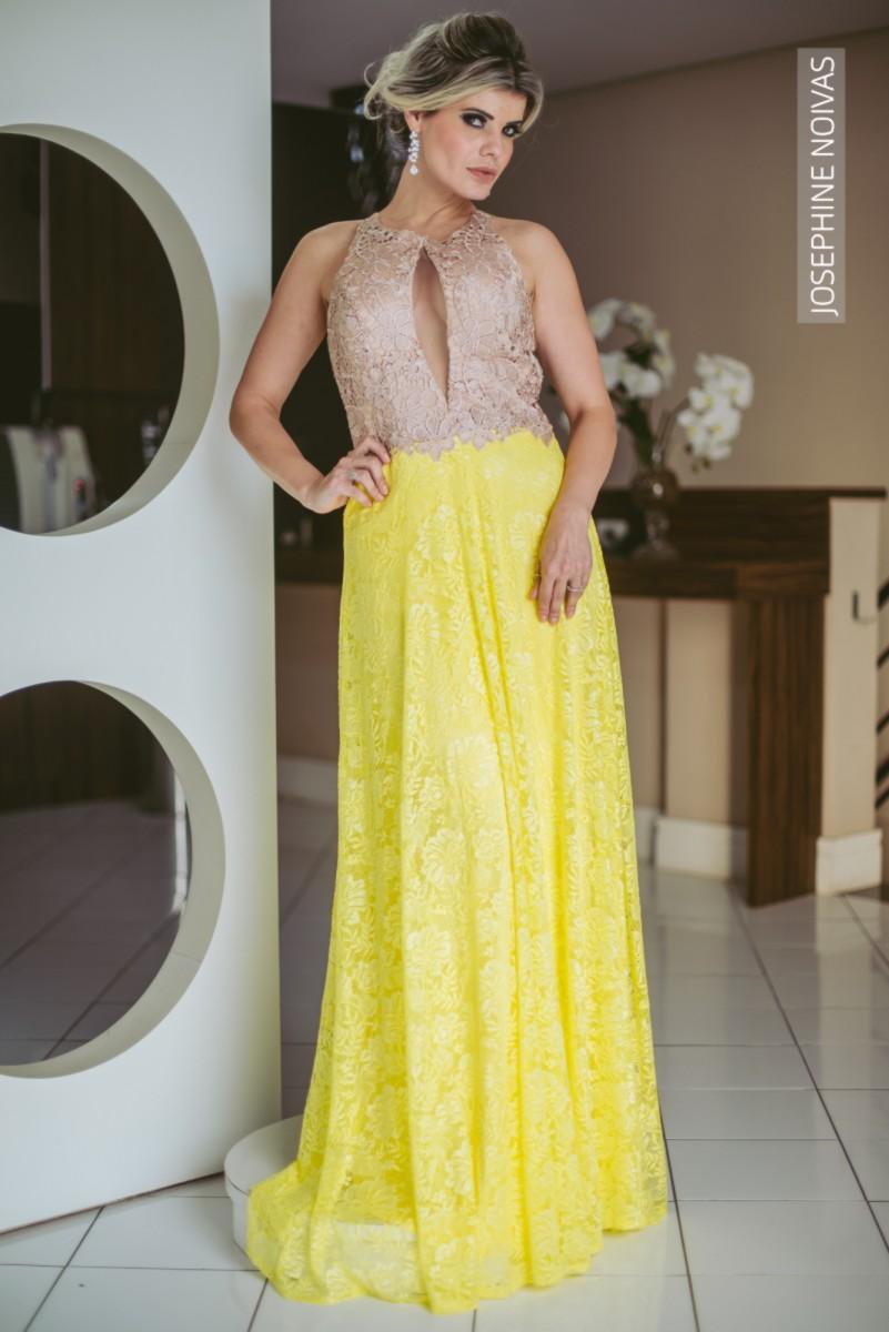 Vestido de Festa - Nude com rendas - Josephine Noivas