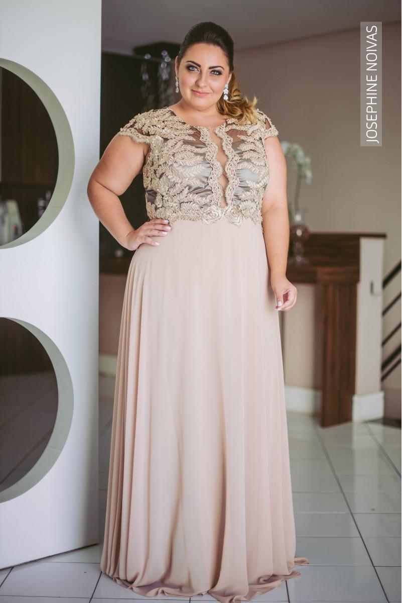 Vestido de Festa Plus Size - Nude com detalhes - Josephine