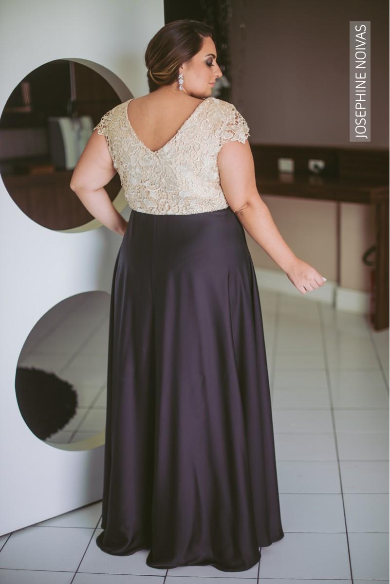 Vestido de Festa Plus Size - Nude com Preto - Josephine Noivas